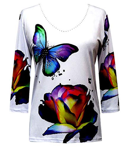 Valentina Signa - Butterflies, 3/4 Sleeve V-Neck Rhinestone Highlighted Top
