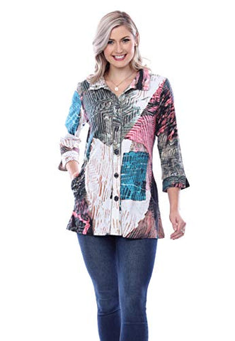Parsley & Sage - Camila, Spread Neck, 3/4 Sleeve, Geometric Design Button Front Shirt