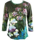 Monet White Water Lilly & Agapanthus, 3/4 Sleeve Hand Silk-Screened Art Top