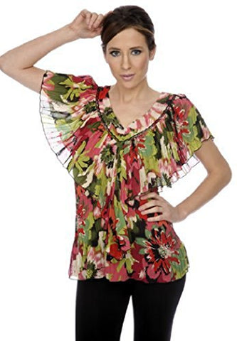 Cathaya Blouse with a Wide V-Neck Ruffled, Pleated Geometric Floral Print
