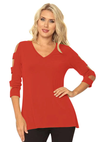 Lior Paris 3/4 Square Cut Ladder Sleeve, V-Neck, Straight Hem Red Colored Top