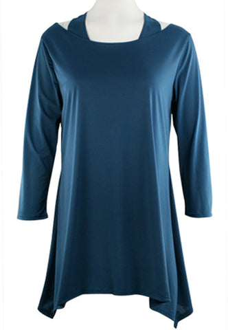 Cactus Fashion - Open Shoulder Teal Blue Long Sleeve Razor Back Tunic Top
