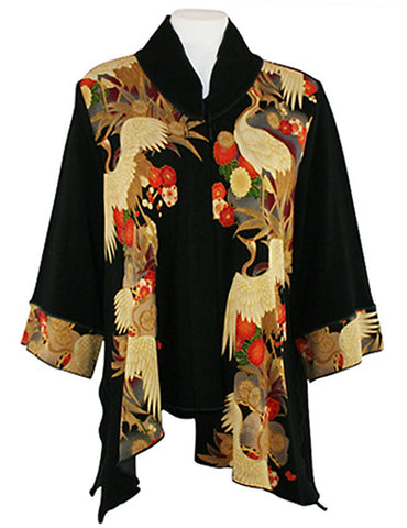 Moonlight - Asian Crane, Black & Red Asian Themed Asymmetric Hem Top