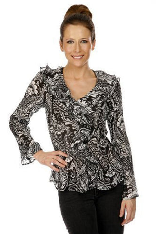 Cathaya Pleated Geometric Print, Flared Long Sleeve Blouse with a Ruffled V-Neck