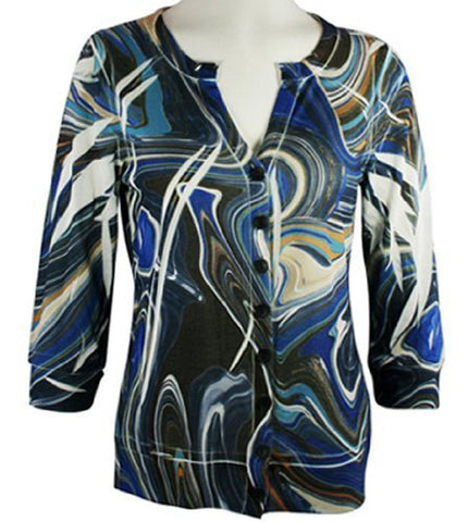 Cubism - Swirls, 3/4 Sleeve, Split Neck, Multi-Colored Woman's Cardigan