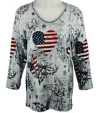 Cactus Bay Apparel - Patchwork USA, Rhinestones, V-Neck, White Cotton Top