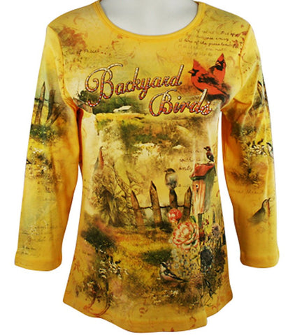 Cactus Fashion - Backyard Birds, 3/4 Sleeve, Scoop Neck Cotton Print Rhinestone Top