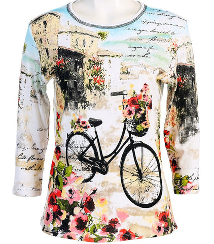 Jess & Jane - Floral Bicycle, Scoop Neck, Cotton Rhinestone Print Ivory Top