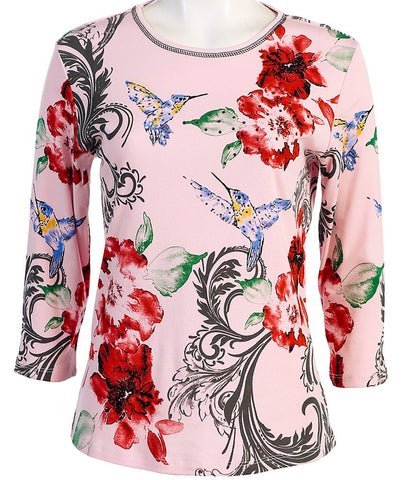 Jess & Jane - Graceful, 3/4 Sleeve, Scoop Neck, Pink Cotton Rhinestone Top