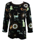 Cactus Fashion - Dog & Ornament, Cotton Print Rhinestone Top