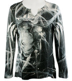 Cubism - Outer Limits, Lurex Thread, Split V-Neck, Multi Colored Layered Print