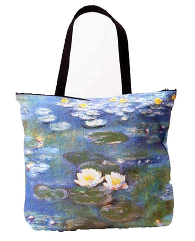 Breeke - White Water Lilly by Monet, Hand Silk Screened Women's Tote Bag