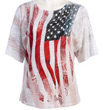 Jess & Jane - America, Peek-a-Boo, Cold Shoulder, Scoop Neck, Sequined Top