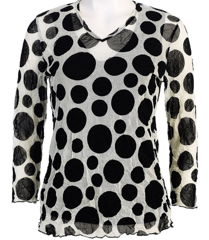 Jess & Jane - Polka Dot, 3/4 Sleeve, V-Neck, Cotton Poly Crushed Mesh with Tank Top