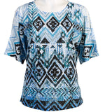 Jess & Jane -Tribal , Peek-a-Boo, Cold Shoulder, Scoop Neck, Sequined Top