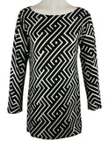 Nally & Millie, Geometric Pattern, Boat Neck Tunic on a Long Sleeve Body - Amaze