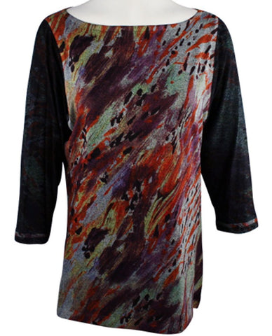 Nally & Millie - Painted Canvas, 3/4 Sleeve, Boat Neck Geometric Print Tunic