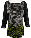 Nally & Millie - Floral Brushed, 3/4 Sleeve, Boat Neck Geometric Print Tunic