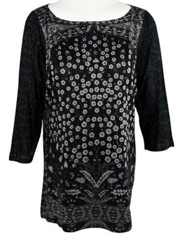 Nally & Millie - Daisy Branch, 3/4 Sleeve, Boat Neck Geometric Print Tunic