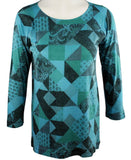 Nally & Millie - Pattern Views, 3/4 Sleeve Hi-Low Scoop Neck Geometric Top