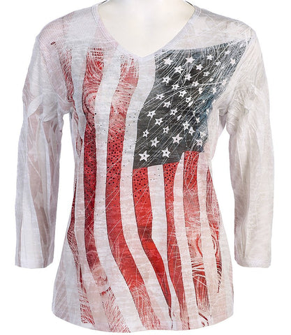 Jess & Jane - America, 3/4 Sleeve V-Neck Sublimation Burnout Rhinestone Top