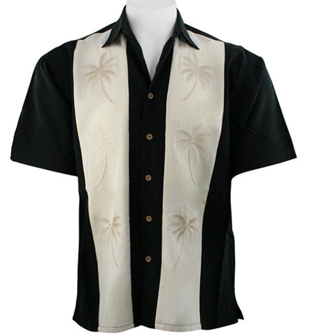 Bamboo Cay - Paneled Palm Leaves, Embroidered Men's Tropical Style Button Shirt