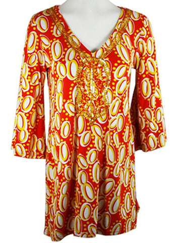 Joyous & Free - Sunshine, 3/4 Sleeve Tunic Mini Dress V-Neck Collar -Side Pleats