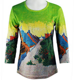 Breeke - Street in Saintes-Maries de la Mar, 3/4 Sleeve Scoop Neck Hand Silk Screened Top