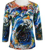 Breeke - Improvisation by Kandinsky 3/4 Sleeve Scoop Neck Hand Silk Screened Top
