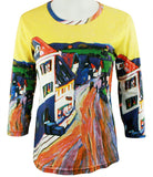 Breeke - Kandinsky by Kandinsky, 3/4 Sleeve, Scoop Neck, Hand Silk Screened Top