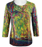 Breeke - Weeping Willow by Monet, 3/4 Sleeve, Scoop Neck, Hand Silk Screened Top