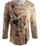 Cactus Fashion - Cocktail, 3/4 Sleeve, Peach Printed Cotton Rhinestone Top