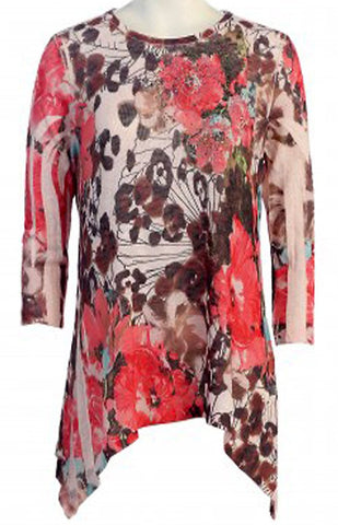 Cactus Fashion - Cherry Blossom, 3/4 Sleeve Scoop Neck Sublimation Burnout Tunic