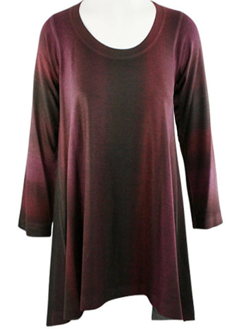 Nally & Millie - Gradient View, Scoop Neck Asymmetric Hem Gradient Pattern Tunic