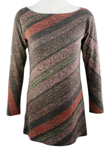 Nally & Millie - Amber Multi Stripe, Geometric Boat Neck Tunic Lurex Stitching