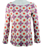 Nally & Millie - Daisy Doodle, Boat Neck Patterned Top on a Long Sleeve Body