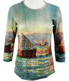 Breeke - Haystacks by Monet, 3/4 Sleeve, Scoop Neck, Hand Silk Screened Top