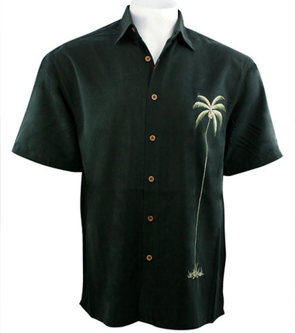 Bamboo Cay - Palm Island, Tropical Style Embroidered Button Front Black Shirt