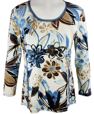 Lior Paris - Illustrated Flowers, Geometric Patterned Top Trimmed Scoop Neck