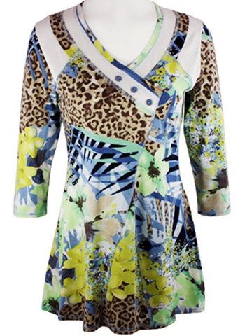 Lior Paris - Jungle Foliage, Geometric Floral Patterned Top Trimmed V-Neck