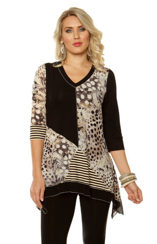 Lior Paris - Animal Stripes, Patchwork Pattern Tunic Top with V-Neck Collar
