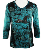 Cactus Bay Apparel - Painted Ponies, 3/4 Sleeve, V-Neck Rhinestone Cotton Top