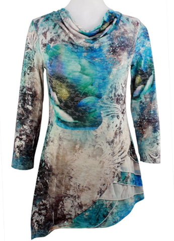 Boho Chic - Under Water, Cowl Neck Asymmetric Side Seam Tunic Top