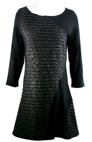 Boho Chic - Black Vines, Long Sleeve Scoop Neck Patchwork Long Tunic - Dress