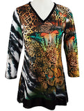 Boho Chic - Rain Forest, Long Sleeve Nature Patterned V-Neck Lace Hem Tunic