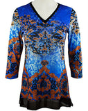 Boho Chic - Empire, Long Sleeve Vintage Pattern Trimmed V-Neck Lace Hem Tunic