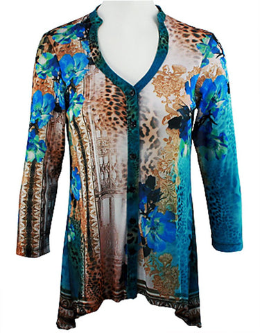 Boho Chic - Countryside, Long Sleeve Shirr Button Front V-Neck Hi-Low Tunic