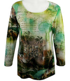 Impulse California - Caribbean, 3/4 Sleeve Top with Subtle Rhinestone Accents