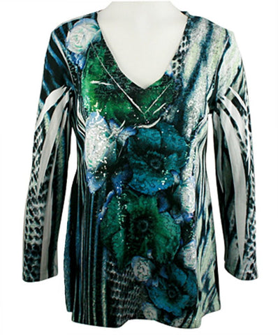 Impulse California - Green Leaf Line, Burnout Top with Mini Sequin Accents