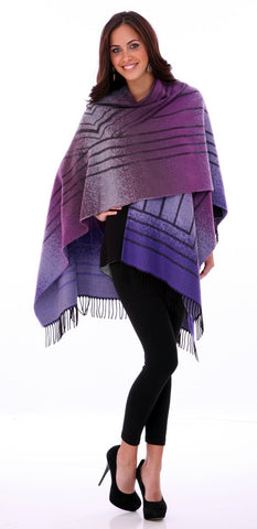 Parsley & Sage - Brume purple colored French Cape in unique geometric pattern